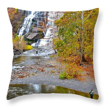 Fisherman One With Nature Throw Pillow by Frozen in Time Fine Art Photography