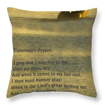 Fisherman's Prayer Throw Pillow by Robert Frederick