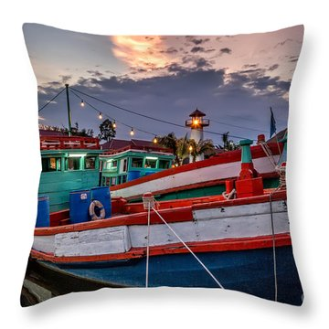 Fishing Boat Throw Pillow by Adrian Evans
