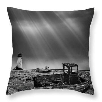 Fishing Boat Graveyard 11 Throw Pillow by Meirion Matthias