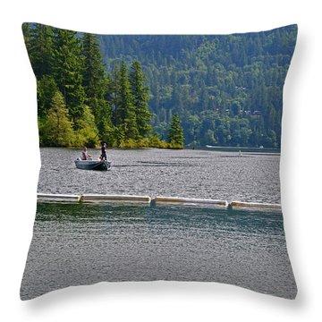 Fishing Lake Merwin Throw Pillow by David Quist
