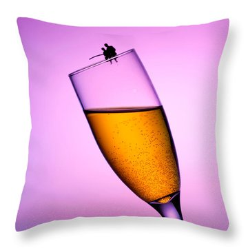 Fishing On A Cup Of Champange Little People On Food Throw Pillow by Paul Ge