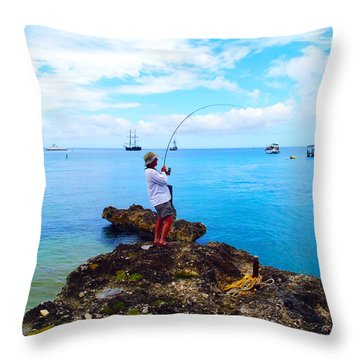Fishing Paradise Throw Pillow by Carey Chen