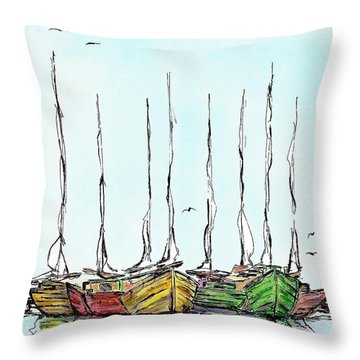 Fishing Sailboats Drawing Pen And Ink Throw Pillow by Mario Perez