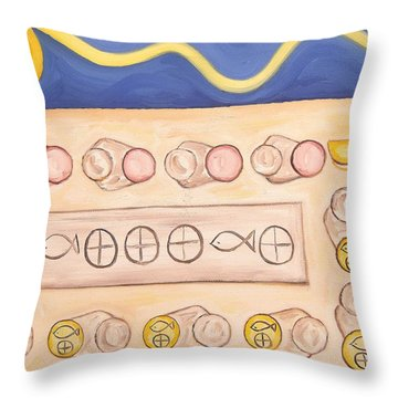 Five Loaves And Two Fish Throw Pillow by Patrick J Murphy