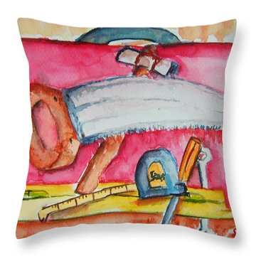 Fix And Finish It Throw Pillow by Elaine Duras