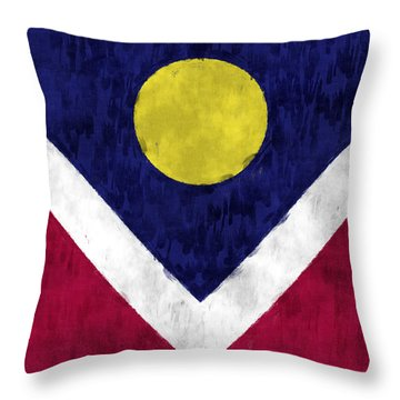 Flag Of Denver Throw Pillow by World Art Prints And Designs