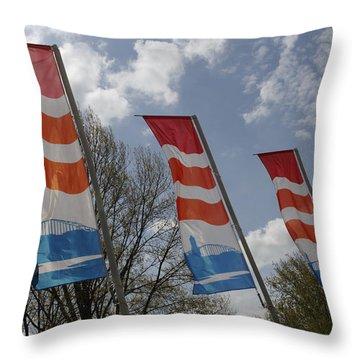 Flags Fluttering In The John Frost Bridge Throw Pillow by Ronald Jansen