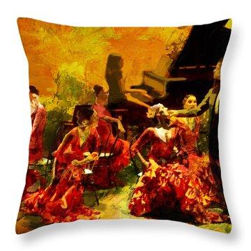 Flamenco Dancer 020 Throw Pillow by Catf