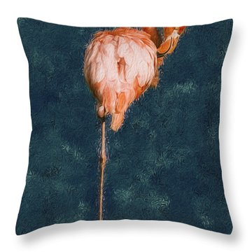 Flamingo - Happened At The Zoo Throw Pillow by Jack Zulli