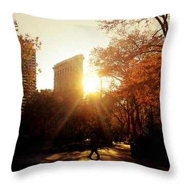 Flatiron Building Sunset - Madison Square Park Throw Pillow by Vivienne Gucwa