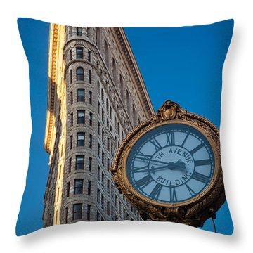 Flatiron Clock Throw Pillow by Inge Johnsson