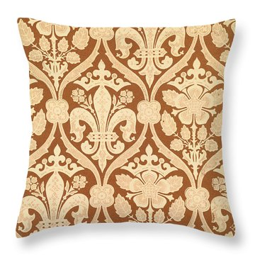 Fleur-de-lis Throw Pillow by Augustus Welby Pugin