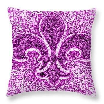 Fleur De Lis Purple Diamond Throw Pillow by Janine Riley