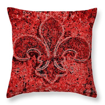 Fleur De Lis Red Ice Throw Pillow by Janine Riley