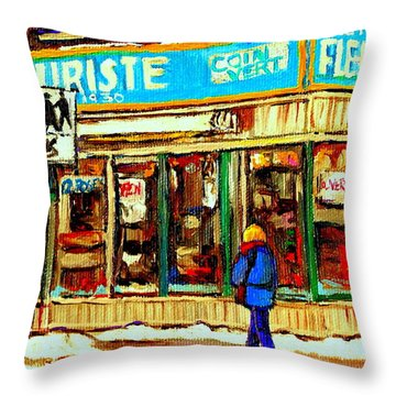 Fleuriste Notre Dame Flower Shop Paintings Carole Spandau Winter Scenes Throw Pillow by Carole Spandau