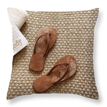 Flip Flops With Towels On Seagrass Rug Throw Pillow by Sandra Cunningham