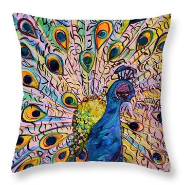 Flirty Peacock Throw Pillow by Eloise Schneider