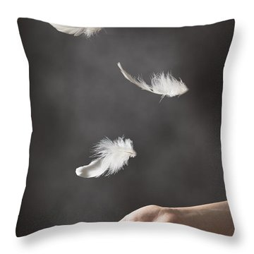 Floating Feathers Throw Pillow by Amanda Elwell