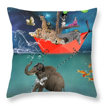 Floating Zoo Throw Pillow by Juli Scalzi