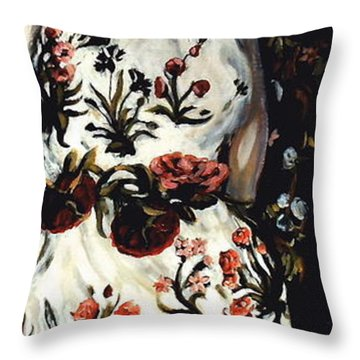 Flora Throw Pillow by Carrie Joy Byrnes