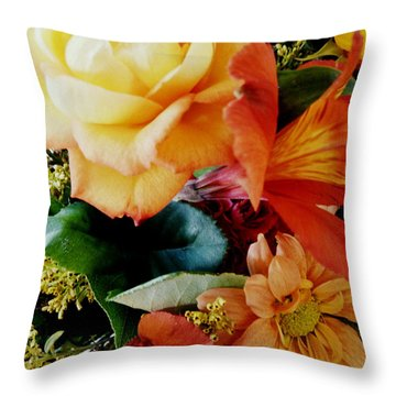 Floral Harmony Throw Pillow by Avis  Noelle