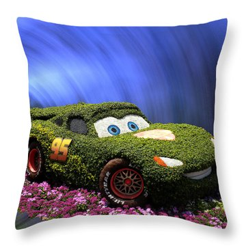 Floral Lightning Mcqueen Throw Pillow by Thomas Woolworth