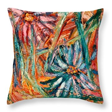 Floral Swirl Throw Pillow by Kendall Kessler