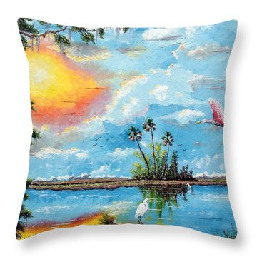 Florida Wilderness Oil Using Knife Throw Pillow by Riley Geddings