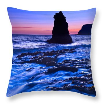 Flow - Dramatic Sunset View Of A Sea Stack In Davenport Beach Santa Cruz. Throw Pillow by Jamie Pham