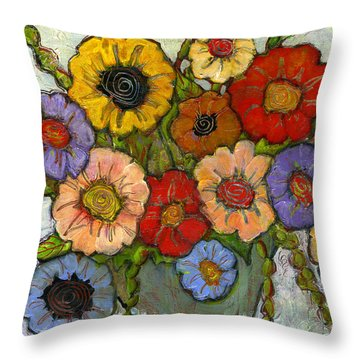 Flower Bouquet Throw Pillow by Blenda Studio
