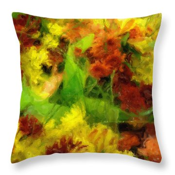Flower Carnival Throw Pillow by Ayse Deniz