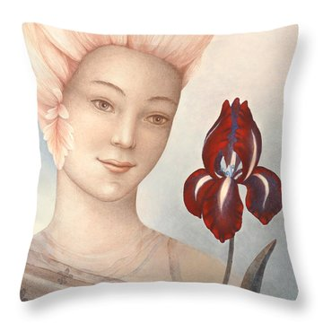 Flower Fairy Throw Pillow by Judith Grzimek