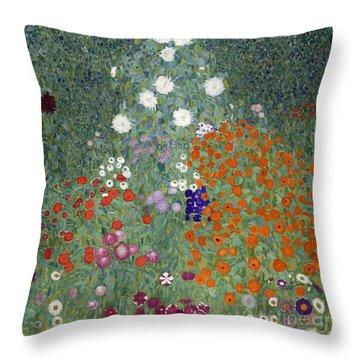 Flower Garden Throw Pillow by Gustav Klimt