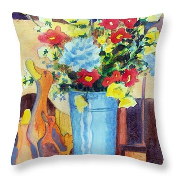 Flower In The Dell Throw Pillow by Kathy Braud