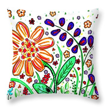 Flower Joy Throw Pillow by Sarah Loft