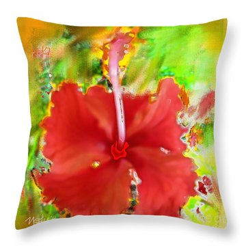 Flower Red Throw Pillow by Nedunseralathan R