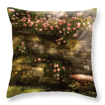 Flower - Rose - In The Rose Garden  Throw Pillow by Mike Savad