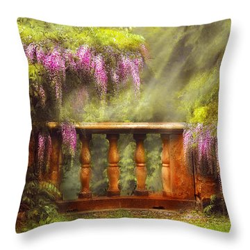 Flower - Wisteria - A Lovers View Throw Pillow by Mike Savad