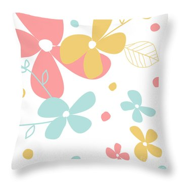 Flowers And Dots Retro Pastels Throw Pillow Throw Pillow by Natalie Kinnear