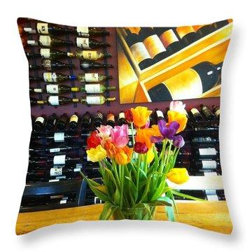 Flowers And Wine Throw Pillow by Susan Garren