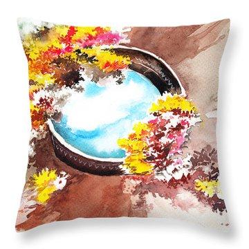 Flowers N Sky Throw Pillow by Anil Nene