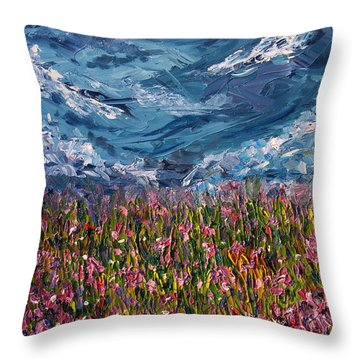 Flowers Of The Field Throw Pillow by Meaghan Troup