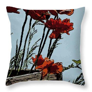 Flowers On The Deck Corner Throw Pillow by David Kehrli