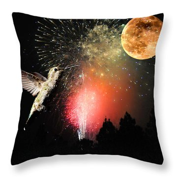 Fly Me To The Moon Throw Pillow by Lynn Bauer