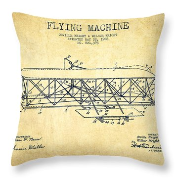 Flying Machine Patent Drawing From 1906 - Vintage Throw Pillow by Aged Pixel