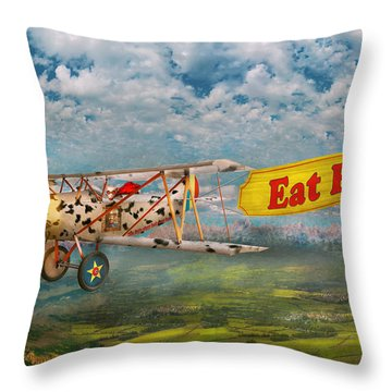 Flying Pigs - Plane - Eat Beef Throw Pillow by Mike Savad