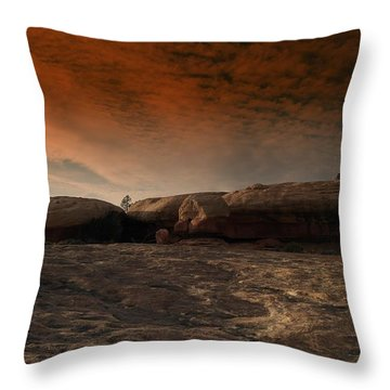 Flying Saucer Rock Throw Pillow by Jeff Swan
