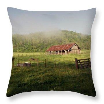 Foggy Barn Throw Pillow by Marty Koch