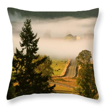 Foggy Morning Drive Throw Pillow by Katie Wing Vigil